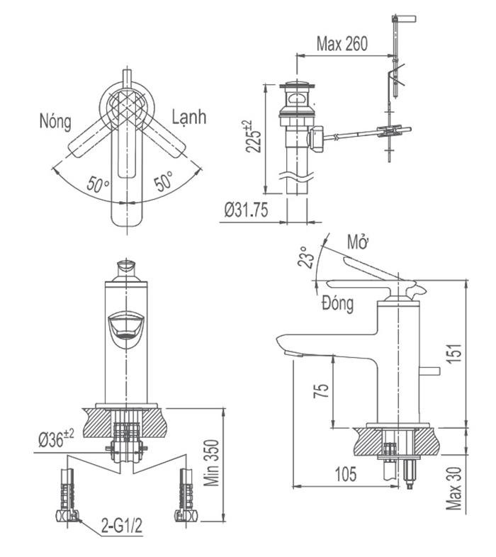 Vòi chậu Lavabo Inax LFV-4102S nóng lạnh-1