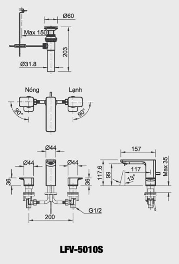 Vòi chậu Lavabo Inax LFV-5010S van nóng lạnh riêng 3 lỗ-1