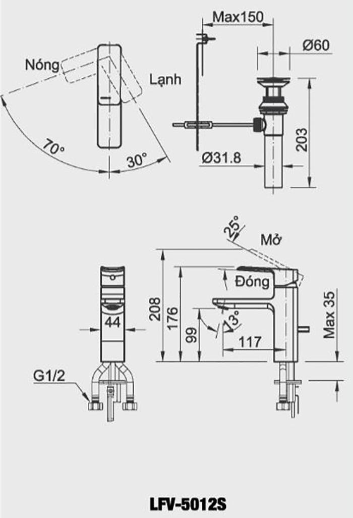 Vòi Lavabo nóng lạnh Inax LFV-5012S-1