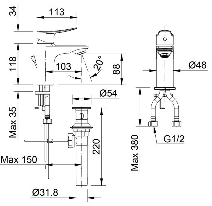 Vòi chậu Lavabo Inax LFV-502S nóng lạnh-2