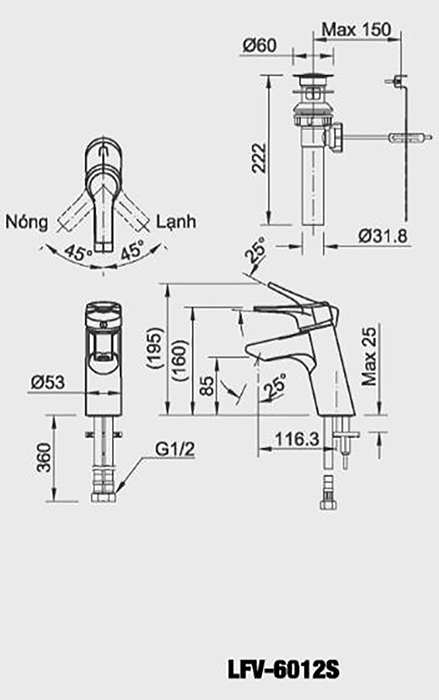 Vòi chậu Lavabo Inax LFV-6012S nóng lạnh-1