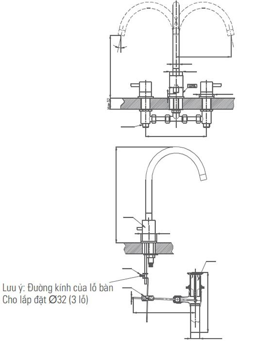 Vòi chậu Lavabo Inax LFV-7000B van nóng lạnh riêng 3 lỗ-1