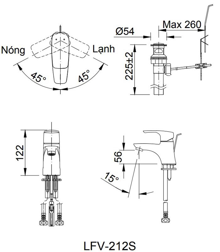 Vòi chậu rửa Inax LFV-212S nóng lạnh Lavabo-1