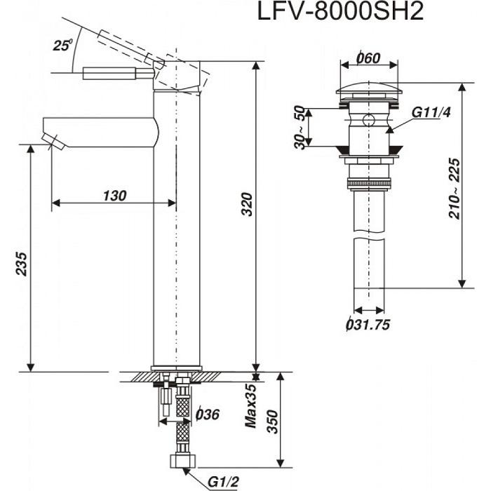 Vòi lavabo đặt bàn Inax LFV-8000SH2 nóng lạnh cổ cao-1