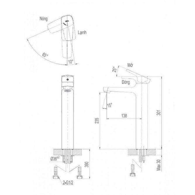 Vòi lavabo để bàn Inax LFV-5000SH cổ cao nóng lạnh-1