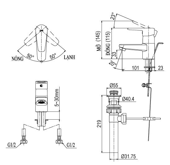 Vòi Lavabo Inax LFV-1202S-1 nóng lạnh