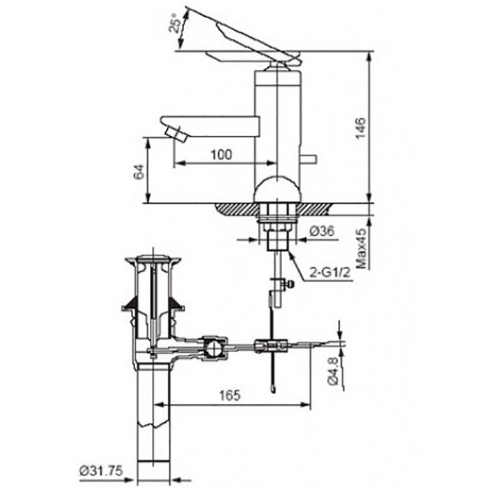 Vòi lavabo Inax LFV-4000S nóng lạnh-2