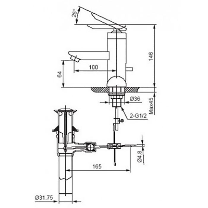 Vòi lavabo Inax LFV-4001S nóng lạnh chậu 3 lỗ-2