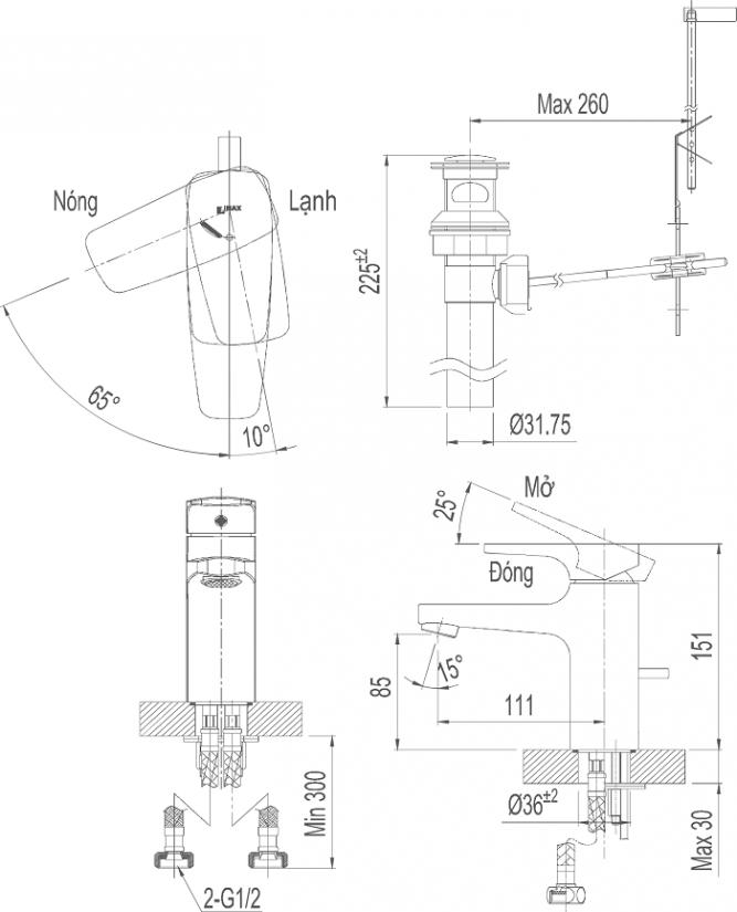 Vòi lavabo Inax LFV-5002S nóng lạnh Ecohandle-1