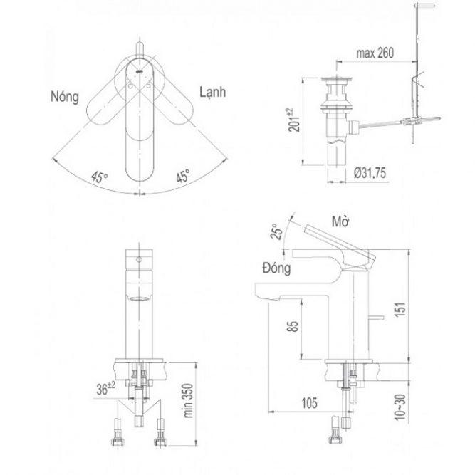 Vòi lavabo Inax LFV-6002S nóng lạnh gật gù-1