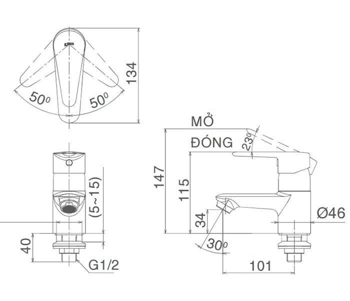Vòi Lavabo lạnh Inax LFV-21S gật gù-1