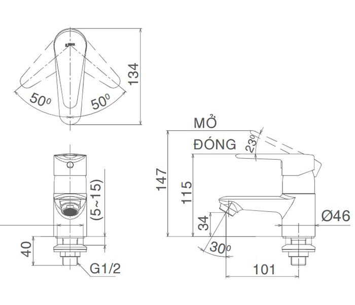 Vòi Lavabo lạnh Inax LFV-21SP gật gù-2