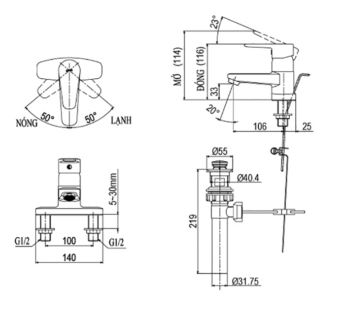 Vòi Lavabo nóng lạnh 3 lỗ Inax LFV-1201S-1-1