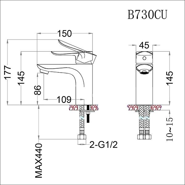 Vòi lavabo nóng lạnh Caesar B730CU-01