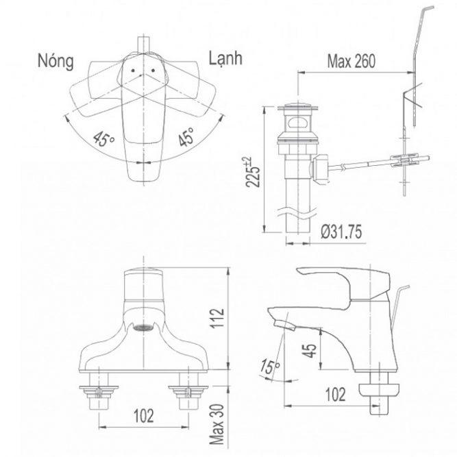 Vòi rửa lavabo Inax LFV-211S nóng lạnh chậu 3 lỗ-1
