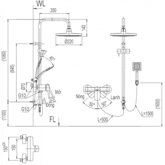Vòi sen cây Inax BFV-50S-5C nóng lạnh-1