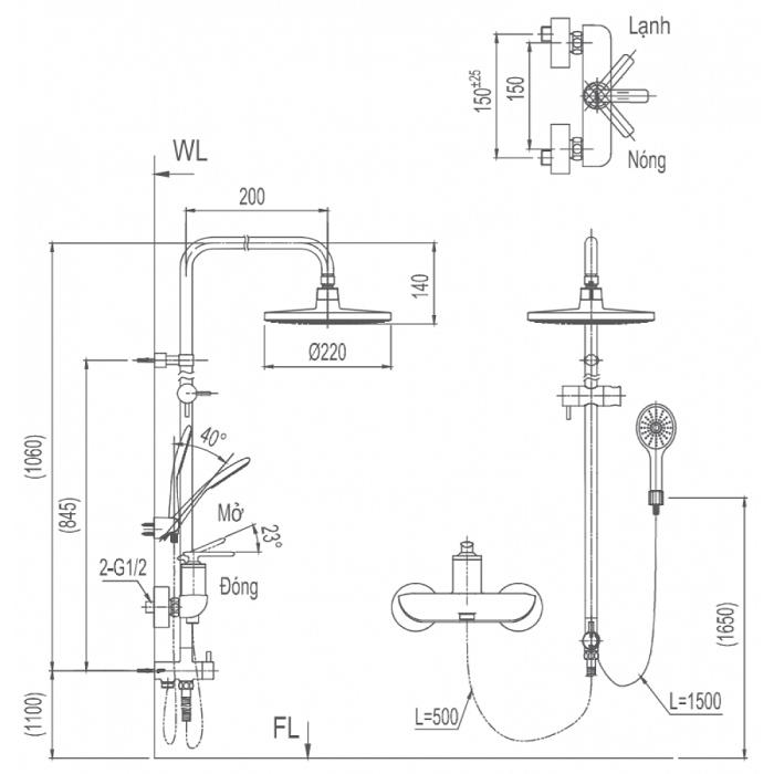 Vòi sen cây tắm Inax BFV-41S-5C nóng lạnh-1