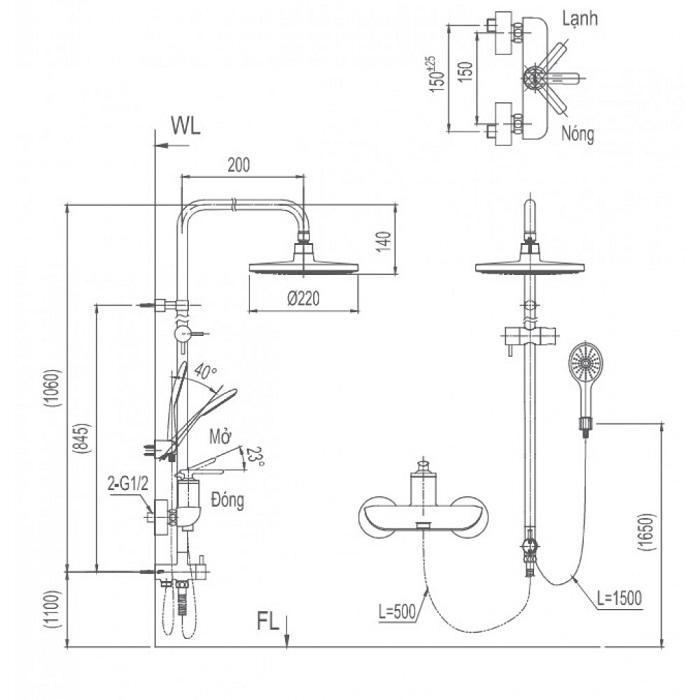 Vòi sen cây tắm Inax BFV-41S nóng lạnh-1