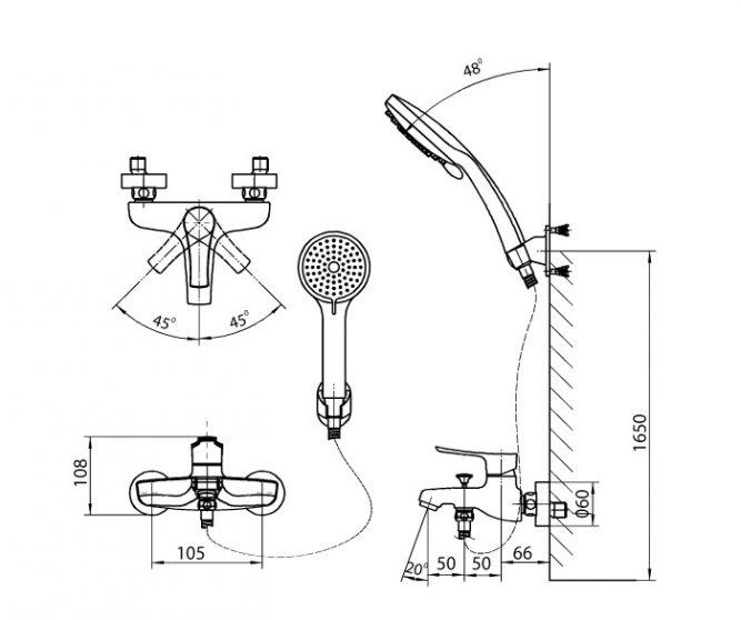 Vòi sen massage nóng lạnh Inax BFV-313S-1