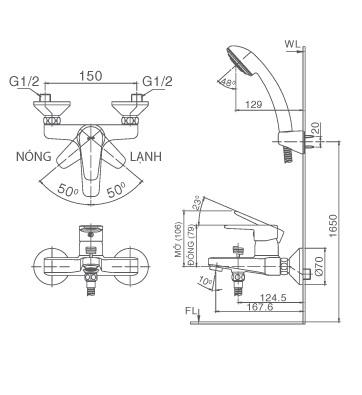 Vòi sen nóng lạnh Inax BFV-1203S-4C tay sen mạ