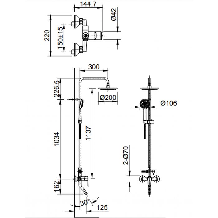 Vòi sen tắm cây Inax BFV-2015S nóng lạnh-1