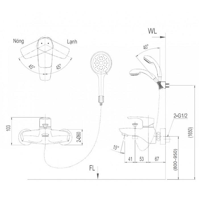 Vòi sen tắm Inax BFV-213S-3C nóng lạnh tay sen massage-1