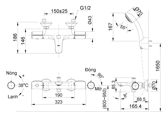 Vòi sen tắm Inax BFV-3413T-3C nhiệt độ cao cấp-1