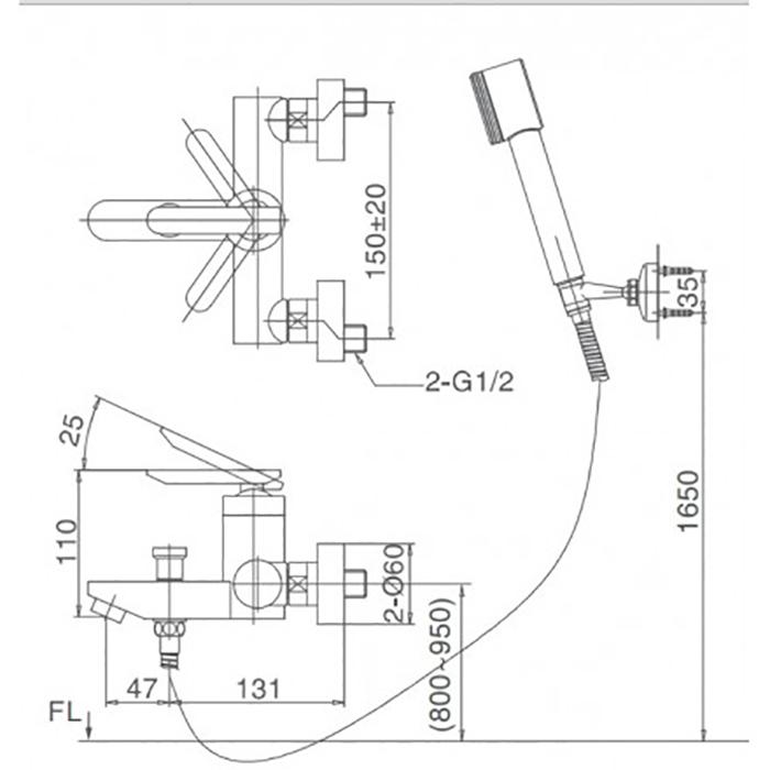 Vòi sen tắm Inax BFV-4000S-5C nóng lạnh-1
