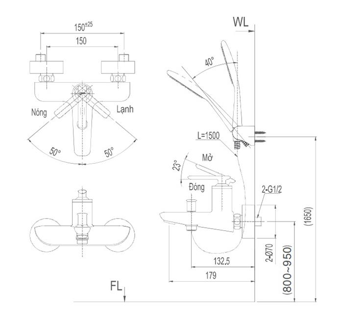 Vòi sen tắm Inax BFV-4103S nóng lạnh-1