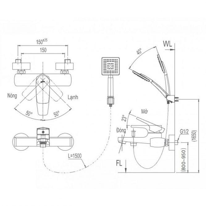 Vòi sen tắm Inax BFV-5003S nóng lạnh-1