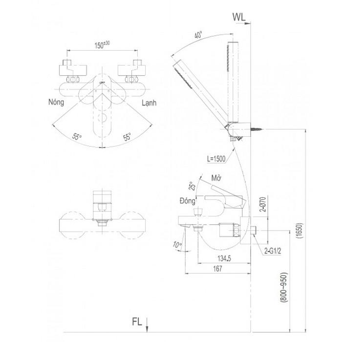 Vòi sen tắm Inax BFV-6003S nóng lạnh-1