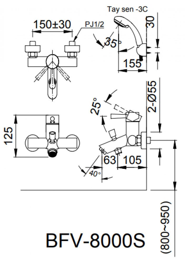 Vòi sen tắm Inax BFV-8000S-5C nóng lạnh