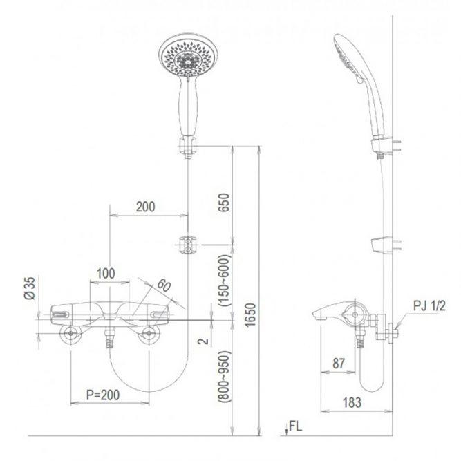 Vòi sen tắm nhiệt độ inax BFV-5103T-3C tay sen massage-2