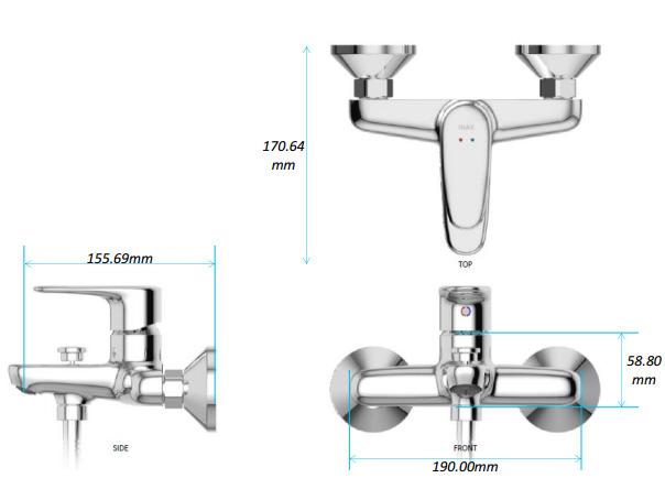Vòi sen tắm nóng lạnh Inax BFV-1113S-4C tay sen mạ