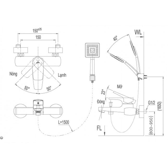 Vòi sen tắm nóng lạnh Inax BFV-5003S-5C-1