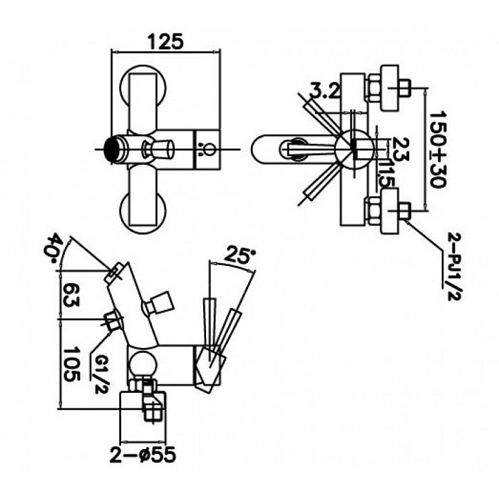 Vòi sen tắm nóng lạnh Inax BFV-8000S-1C-1