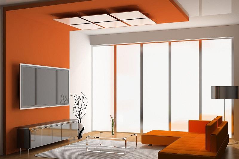 Sơn trần nhà tông màu cam