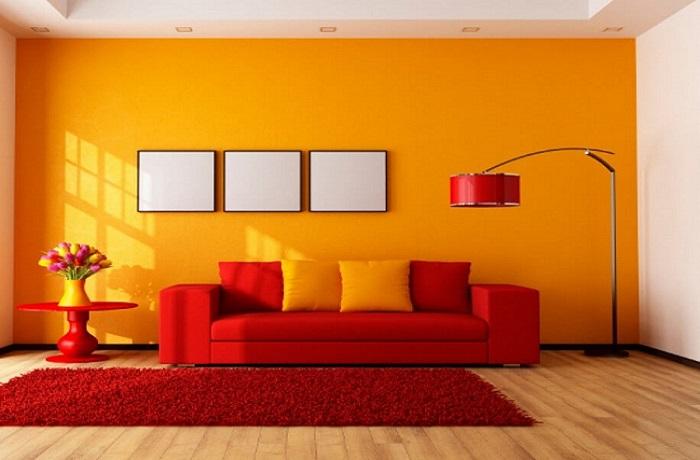 Phối màu cam đất với trắng trong sơn nhà