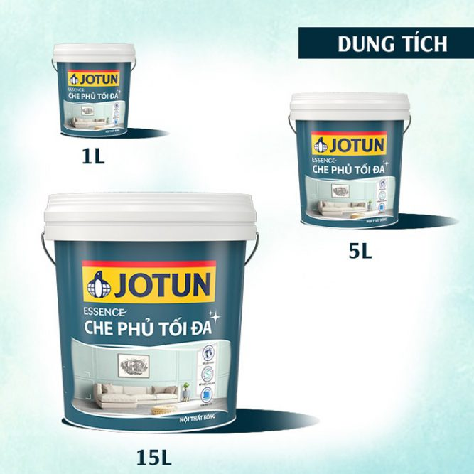 3 thể tích của sơn Jotun Essence che phủ tối đa bóng mới