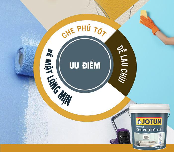Sơn Jotun có lớp màng mềm mịn, độ che phủ tốt và dễ lau chùi
