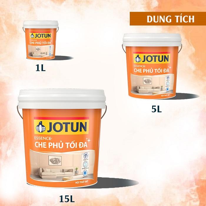 Các dung tích của sơn nội thất Jotun Essence che phủ tối đa mờ mới