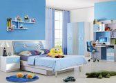 Ăn gian diện tích phòng ngủ cho bé với sơn màu xanh dương