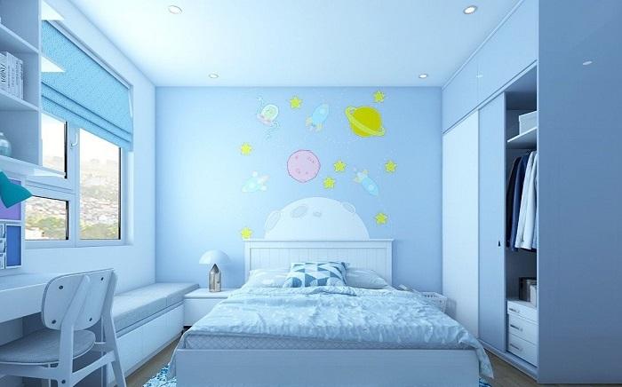 Sơn phòng ngủ cho bé bằng màu xanh nhạt