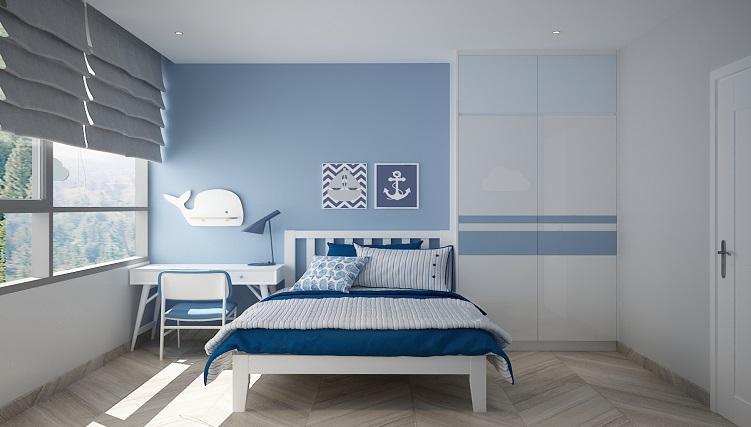 Cách phối màu đơn giản giữa trắng và xanh nhạt