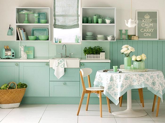 Sơn nhà bếp màu xanh ngọc